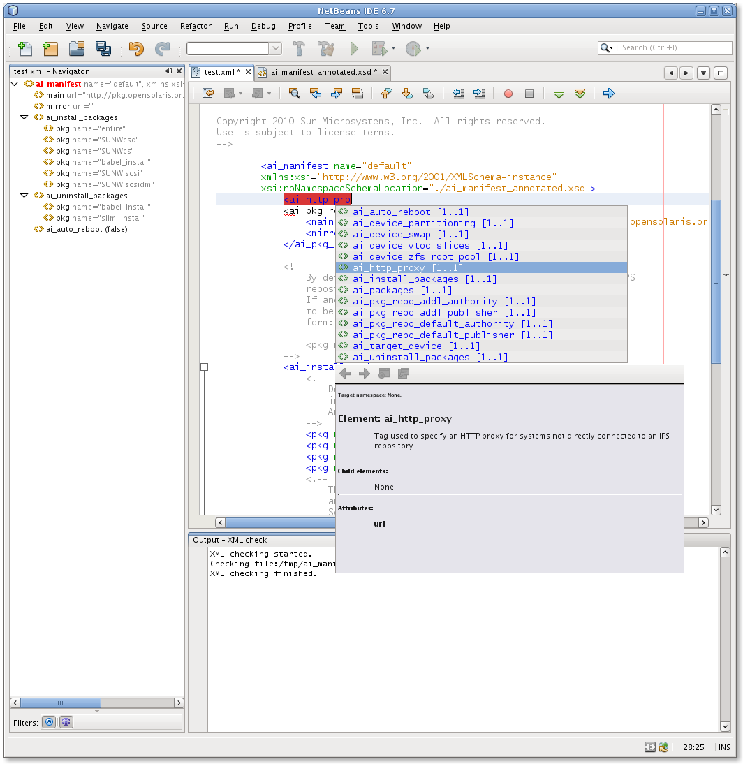 Screenshot of the NetBeans context sensitive editor.