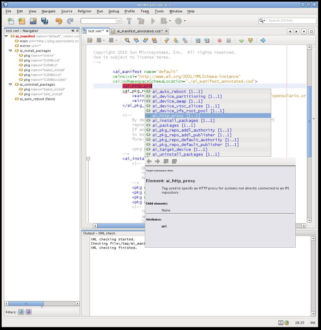 Screenshot of the NetBeans context sensitive editor.